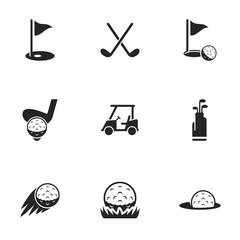 Icons for theme golf, vector, icon, set. White background