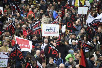 Protesters demonstrate against TTIP free trade agreement ahead of U.S. President Obama's visit in Hannover