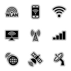 Icons for theme wireless network, vector, icon, set. White background