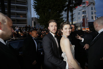 """Actor and singer Justin Timberlake and actress Jessica Biel leave after the screening of the film """"Inside Llewyn Davis"""" in competition during the 66th Cannes Film Festival"""
