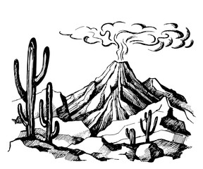 Vector sketch landscape volcanic eruption
