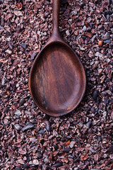 Wooden spoon on a crushed cocoa beans. Copy space