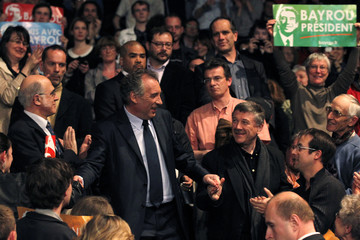 Bayrou, MoDem party candidate for the 2012 French presidential election, arrives to attend a campaign rally in Rennes