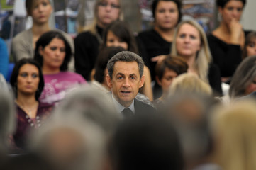 France's President Sarkozy attends a meeting with representatives of Public Health sector in Carcassonne, southern France