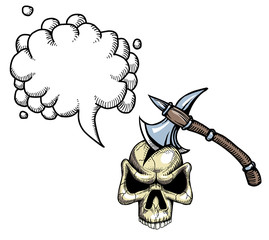 Cartoon image of axe in skull. An artistic freehand picture. With speech bubble.
