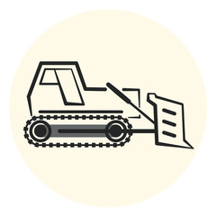 Outline earth mover icon, bulldozer icon, flat transport object