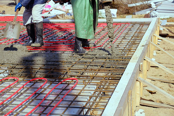 pouring concrete slab