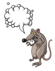 Cartoon image of evil rat. An artistic freehand picture. With speech bubble.