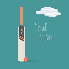 Cricket ball and bat vector illustration with travel to England quote
