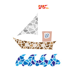 Polygonal style ship isolated on the white background