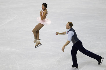 Evora and Ladwig perform during the pairs short program at the U.S. Figure Skating Championships in San Jose