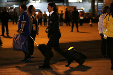 Honduras' national soccer team player Roger Espinoza arrives at the Guarulhos airport ahead of the 2014 World Cup in Sao Paulo
