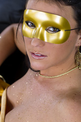Brunette Model With A Mask