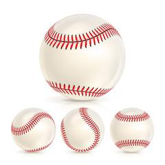 Baseball Leather Ball Close-up Set Isolated On White. SoftBall Base Ball. Realistic Vector Illustration