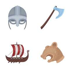 Viking helmet, battle ax, rook on oars with shields, dragon, treasure. Vikings set collection icons in cartoon style vector symbol stock illustration web.