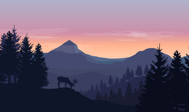Landscape with blue silhouettes of mountains, hills and trees, wild deer and sunset or sunrise sky in the background