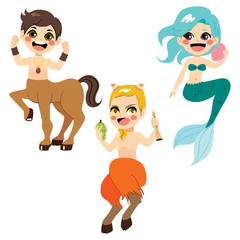 Cute legendary mythology character collection of strong centaur mermaid and faun with flute