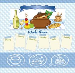 Blue pattern background for week menu template