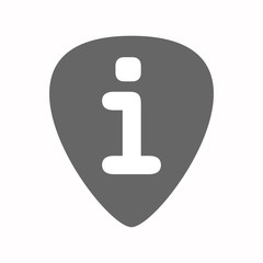 Isolated guitar plectrum with an info sign