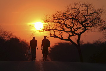 Two men are silhouetted as they walk towards the setting sun inside Hwange national park