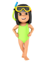 3d render of a kid wearing swimsuit and goggles