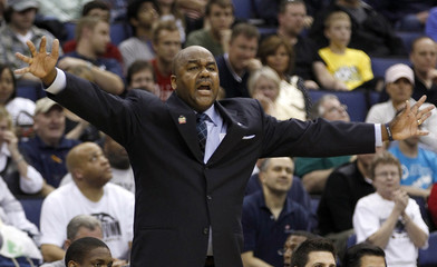 Georgetown University head coach John Thompson III coaches his team against Belmont University during their men's NCAA college basketball game in Columbus