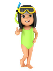 3d render of a kid wearing swimsuit and goggles showing thumbs up sign