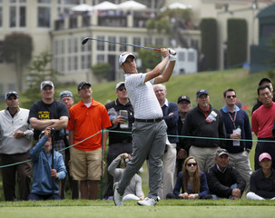 Italy's Matteo Manassero tees off on the fourth hole during a practice round for the 2012 U.S. Open golf tournament on the Lake Course at the Olympic Club in San Francisco