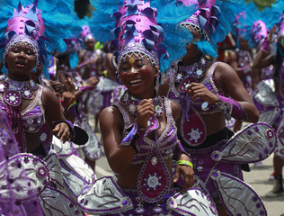 Participants attend a street carnival to mark the end of Easter celebrations at Tafawa Balewa square in Nigeria's commercial capital Lagos