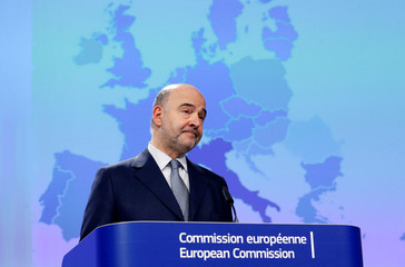 EU Economic and Financial Affairs Commissioner Moscovici presents the EU executive's economic forecasts in Brussels