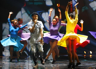 Williams performs during the MTV EMA awards at the Assago forum in Milan