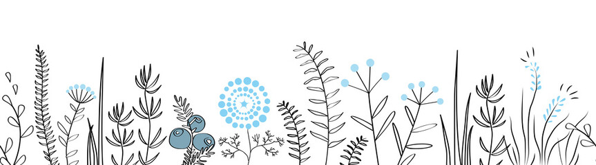 Wall Mural - Vector seamless border with forest and meadow plants. Background for frames, decorative scotch tape, posters, kids illustrations.