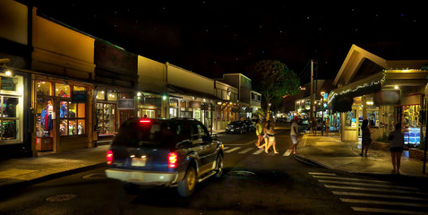 Lahaina Town - Front Street at Night with Shoppers - Maui, Hawaii