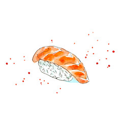 Sushi of a salmon. Japanese cuisine.Watercolor hand drawn illustration.White background.