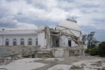 View of collapsed cupola of National Palace in Port-au-Prince