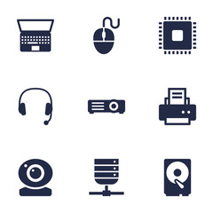 Set Of 9 Notebook Icons Set.Collection Of Hard Disk, Datacenter, Control Device And Other Elements.