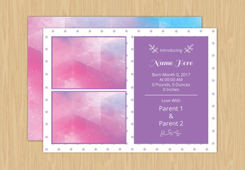 Birth Announement Layout with Photo Placeholders 7