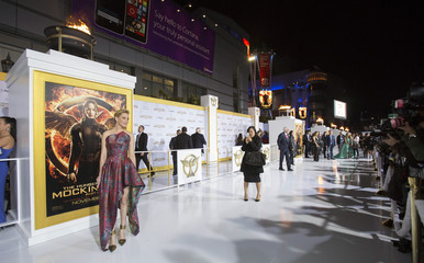 """Cast member Banks poses at the premiere of """"The Hunger Games: Mockingjay - Part 1"""" in Los Angeles"""