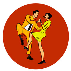 Vector illustration of a couple dancing swing, twist or lindy hop
