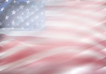 USA flags waving