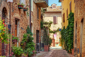 Fototapete - Alley in old town, Tuscany, Italy
