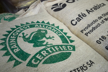 Raw coffee bean bags are seen at the Segafredo Zanetti plant in Sotteville-les-Rouen