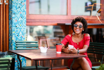 Woman sitting at a coffee shop