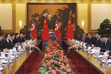 Chinese Premier Wen meets North Korea's Premier Choe at the Great Hall of the People in Beijing