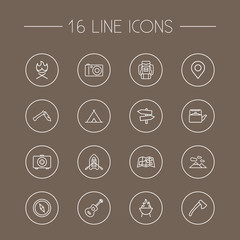 Set Of 16 Adventure Outline Icons Set.Collection Of Rubber Boat, Gps, Baggage And Other Elements.