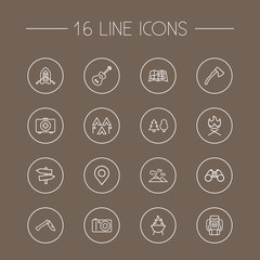 Set Of 16 Camping Outline Icons Set.Collection Of Guidepost, Photographing, Binoculars And Other Elements.