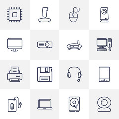Set Of 16 Notebook Outline Icons Set.Collection Of Modem, Speaker, Computer Mouse And Other Elements.