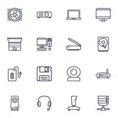 Set Of 16 Computer Outline Icons Set.Collection Of Scanner, Monitor, Floppy And Other Elements.