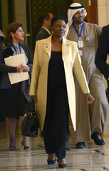 United Nations Humanitarian Chief Valerie Amos walks to a luncheon during the International Humanitarian Pledging Conference for Syria at Bayan Palace on the outskirts of Kuwait City