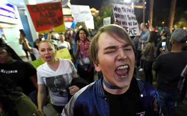 Demonstrators chant during a protest march against the election of Republican Donald Trump as President of the United States in Las Vegas